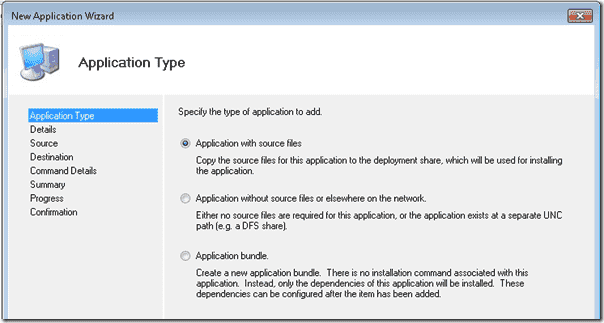 The new application wizard
