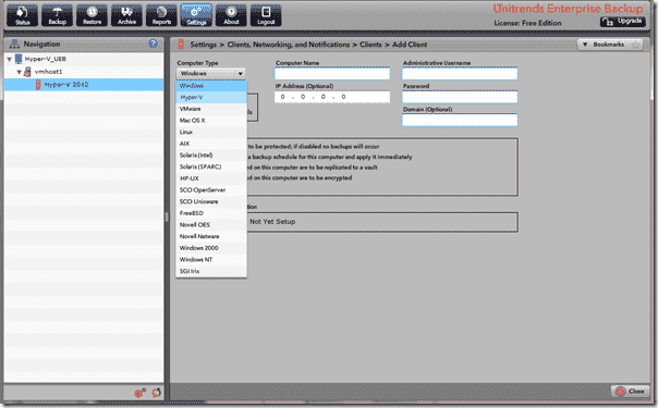 Unitrends Enterprise Backup - Client add options