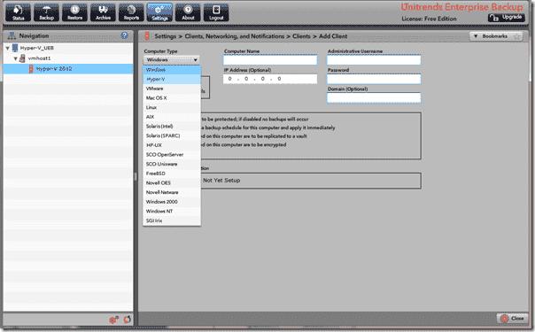 Unitrends Enterprise Backup - Client add options