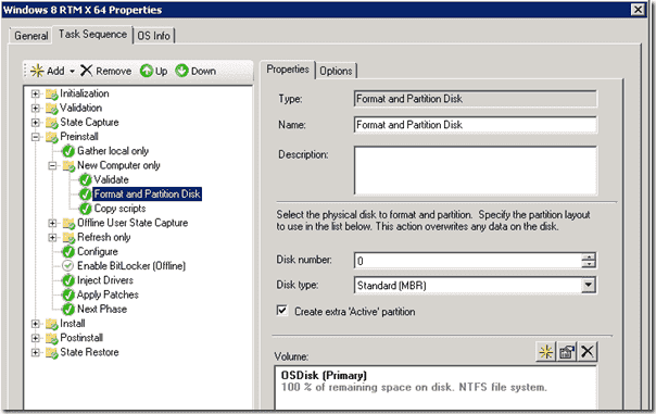 Windows 8 Deployment - Format and Partion Task