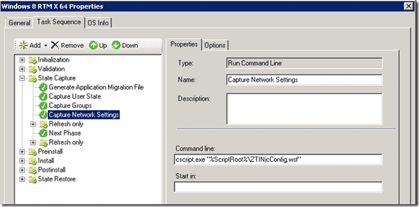 Windows 8 deplloyment -The Capture Network Settings task