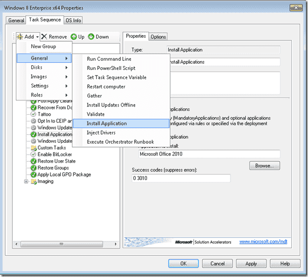 Windows 8 deployment - Adding an additional Install Application Task