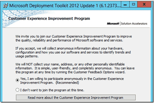 Windows 8 deployment - Custumer Exprience Program