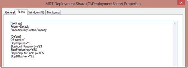 Windows 8 deployment -Default CustomSettings File