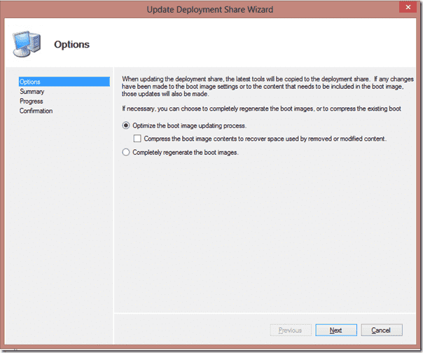 Windows 8 deployment - In most cases, select the default selection for your Boot image
