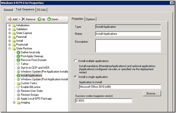 Windows 8 deployment - Install Application