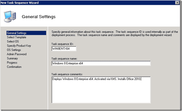 Windows 8 deployment - Task Sequence ID