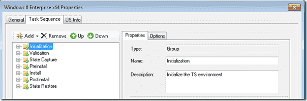 Windows 8 deployment - Task Sequence Initialization