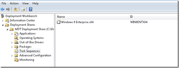 Windows 8 deployment - Task Sequence withint the DeploymentShare