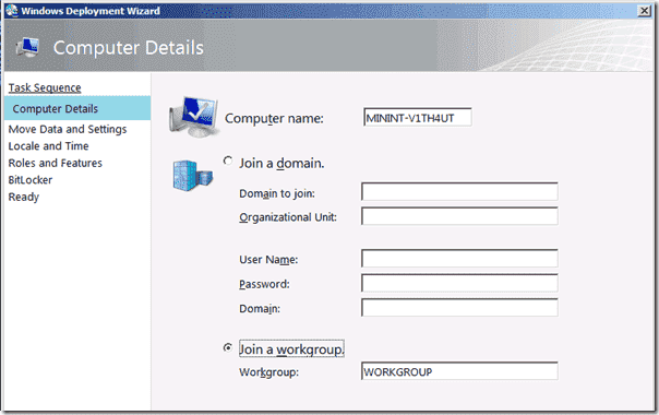 Windows 8 deployment - The Computer Details windows in the Deployment Wizard