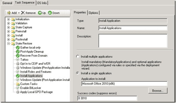 Windows 8 deployment - The Install Applications Task in our Windows 8 Task Sequence