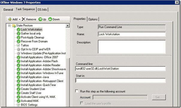 Windows 8 deployment - The Lock Workstation Task