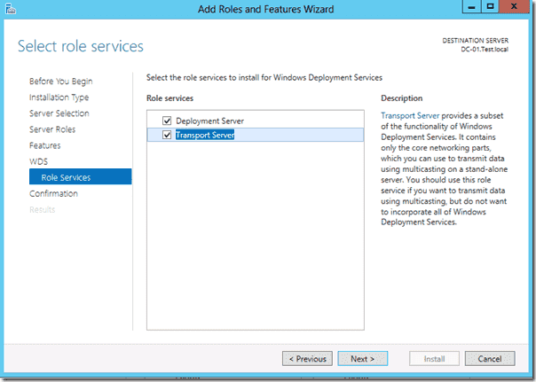 Windows 8 deployment - Transport Server
