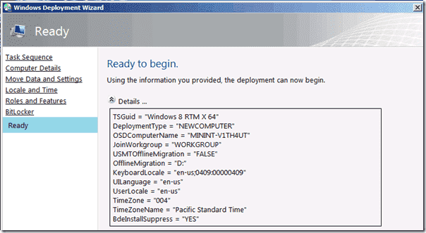 Windows 8 deplyoment - Deployment Wizard Input Summary