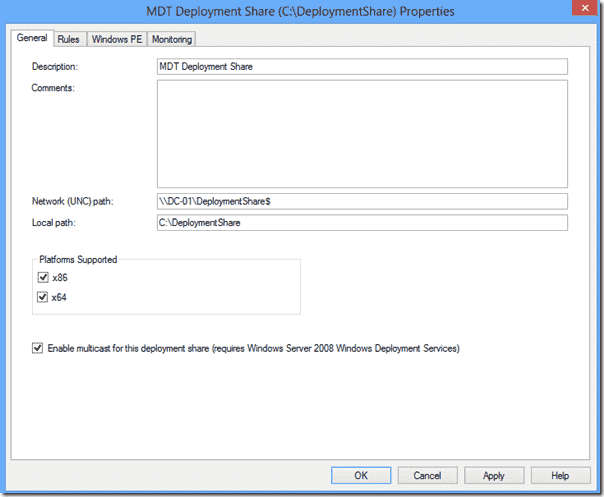 Windows Deployment Services - DeploymentShare