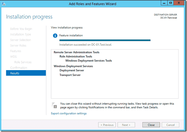 Windows Deployment Services - Export configuration settings