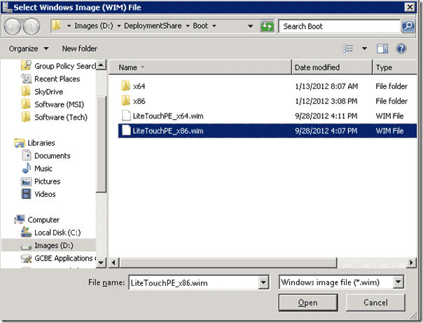 Windows Deployment Services - X86 MDT generated boot image