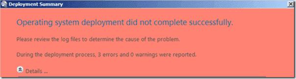 A failed Deployment Summary
