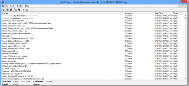 BDD.log opened in Trace32