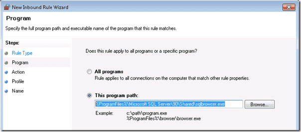 Firewall exception for the SQL Browser executable