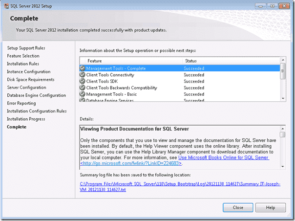 The SQL Server Completion Summary