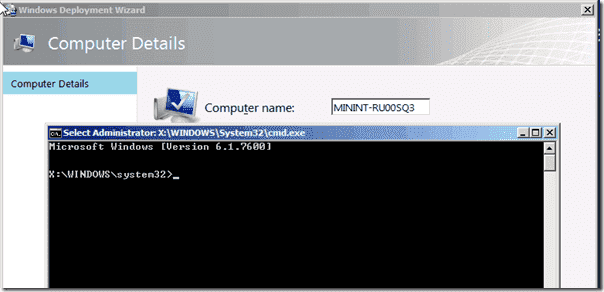 The command prompt in Windows PE