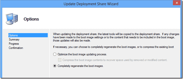 Update Deployment Share Wizard