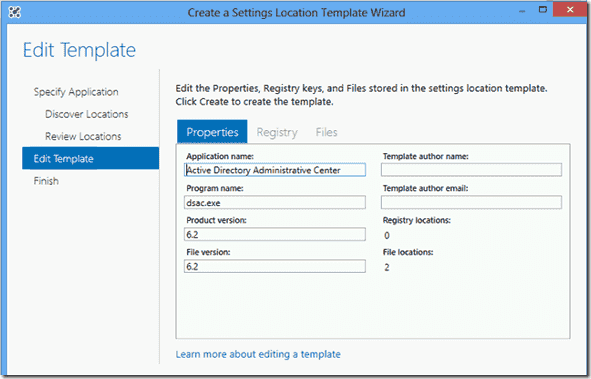 Create a Settings Locations Template Wizard