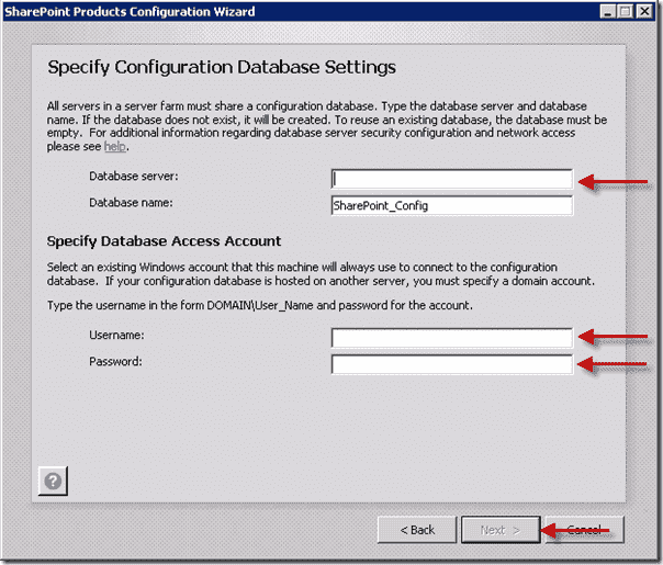 Install SharePoint 2013  - Specify Configuration Database Settings