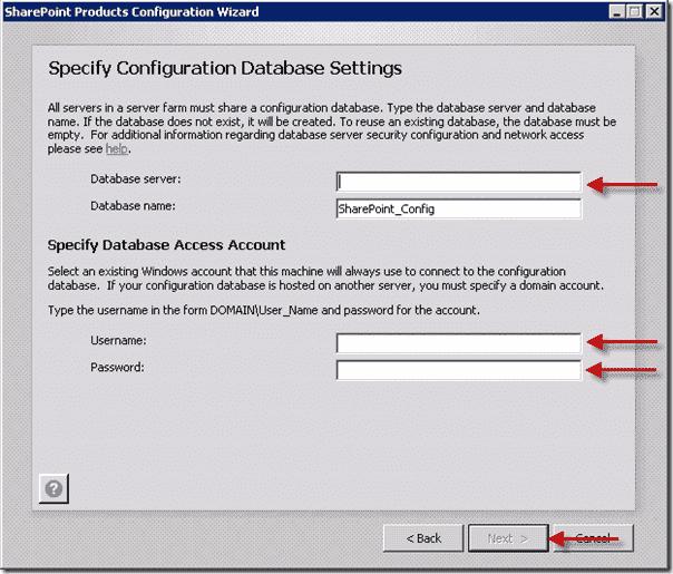 Install SharePoint 2013  - Specify Configuration Database Settings