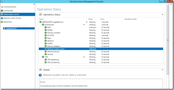 Operations Status page in the Remote Access console