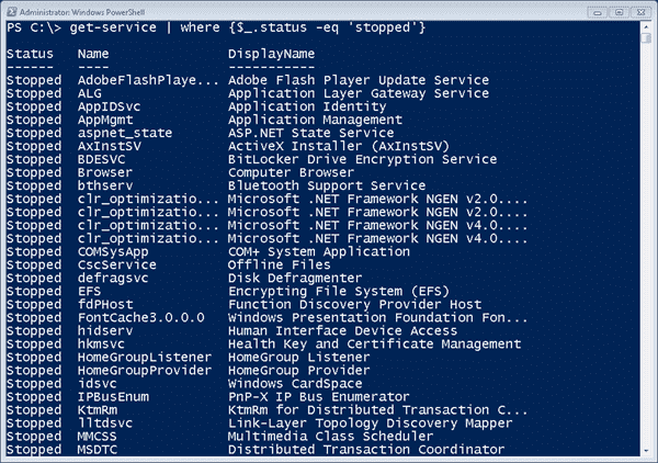 Services and PowerShell - Filtering with Where-Object