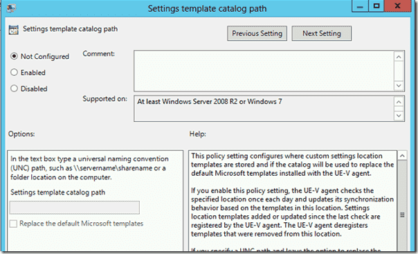 Settings Template Catalog Path