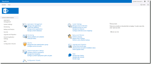 SharePoint 2013 - Central Administration