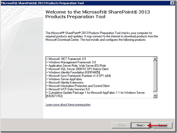 SharePoint 2013 Products Preparation Tool