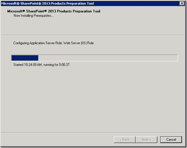 SharePoint 2013 Products Preperation Tool - Now Installing Prerequisites 2