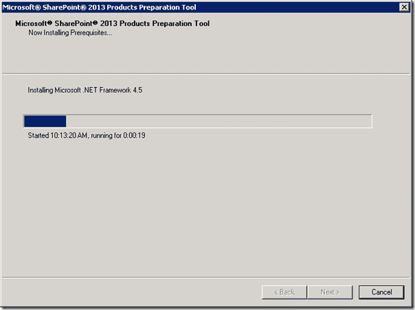 SharePoint 2013 Products Preperation Tool - Now Installing Prerequisites