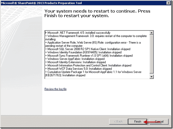 SharePoint 2013 Products Preperation Tool - Restart your system