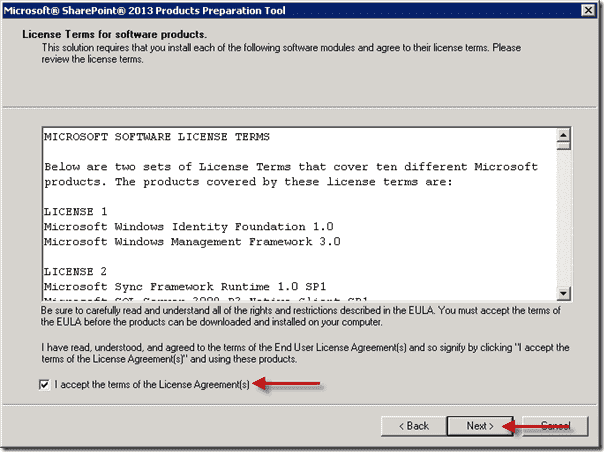 SharePoint 2013 Produts Preperation Tool - License Agreement