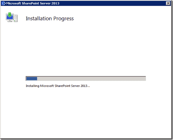 Sharepoint 2013 - Installation Progress