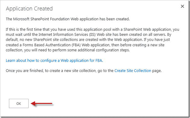 Sharepoint 2013 upgrade - Application Created
