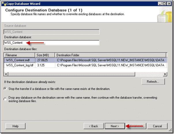 Sharepoint 2013 upgrade - Configure Destination Database