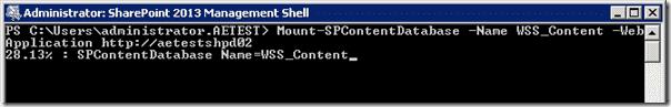 Sharepoint 2013 upgrade - Mount-SPContentDatabse 2