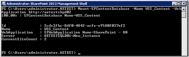 Sharepoint 2013 upgrade - Mount-SPContentDatabse 3