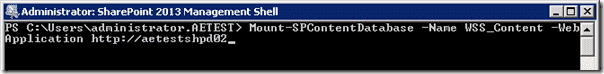 Sharepoint 2013 upgrade - Mount-SPContentDatabse
