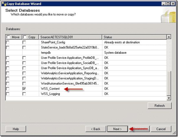 Sharepoint 2013 upgrade - Select Database
