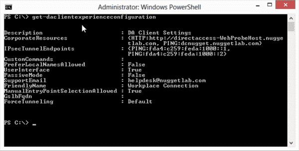 Troubleshooting DirectAccess client settings via PowerShell 3