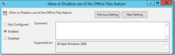 UE-V - Allow or Disallow use of the Offline Files feature