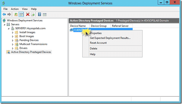 Windows Deployment Services (WDS) for Windows Server 2012003 - Invoking the Expected Deployment Results wizard