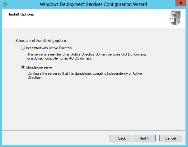Windows Deployment Services (WDS) for Windows Server 2012003 - WDS standalone server mode